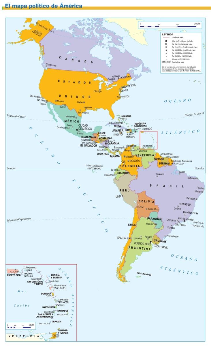 mapa político de américa   geografía turística