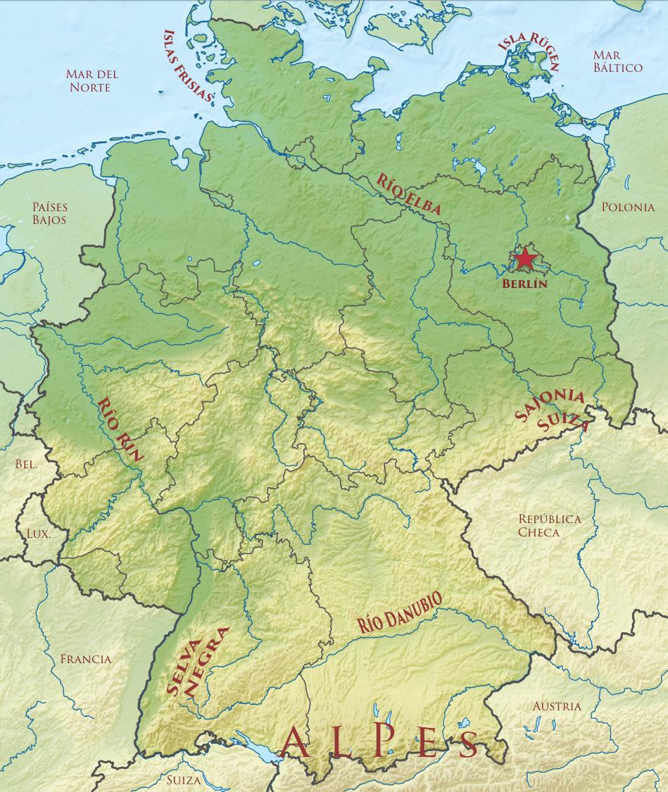 Alemania Mapa Fisico  Geografa Turstica